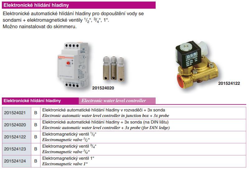 Elektronické automatické hlídání hladiny v rozvaděči + 3x sonda