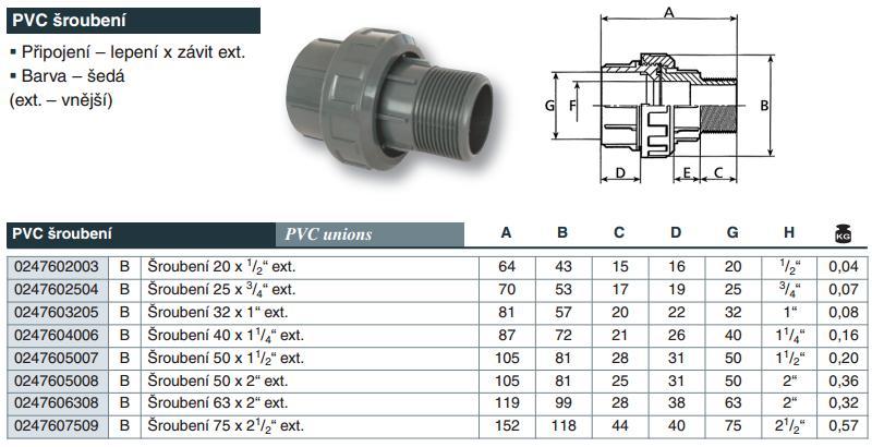 """Vágnerpool PVC tvarovka - Šroubení 20 x 1/2"""" ext."""