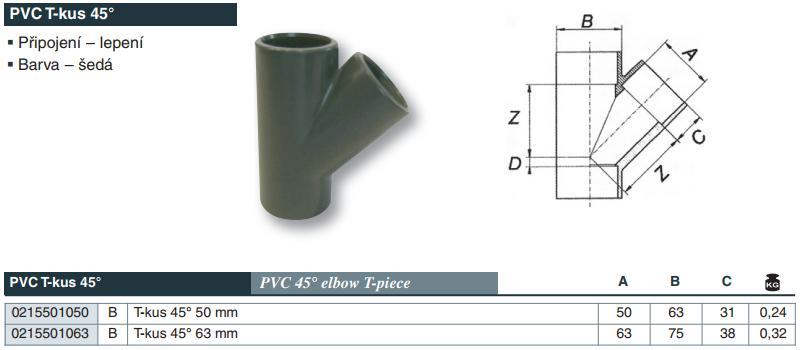 Vágnerpool PVC tvarovka - T- kus 45° 63 mm