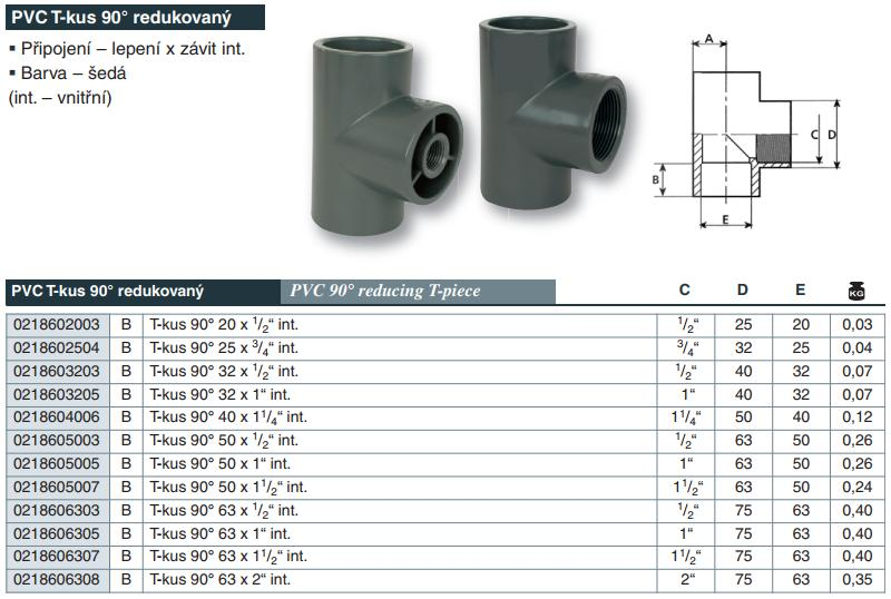 "Vágnerpool PVC tvarovka - T- kus 90° 32 x 1/2"" int."