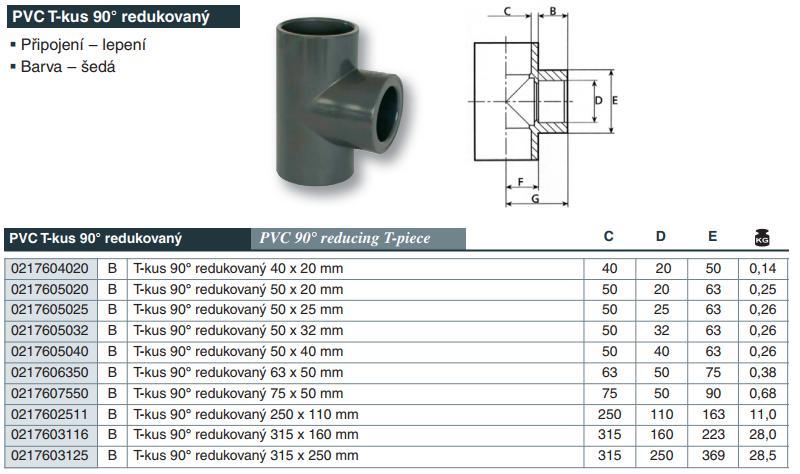 Vágnerpool PVC tvarovka - T- kus 90° redukovaný 75 x 50 mm