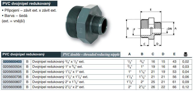"""Vágnerpool PVC tvarovka - Dvojnipel redukovaný 21/2"""" x 2"""" ext."""