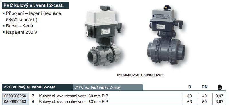 Kulový el. dvoucestný ventil 50 mm, 230 V, FIP – pro solární systémy