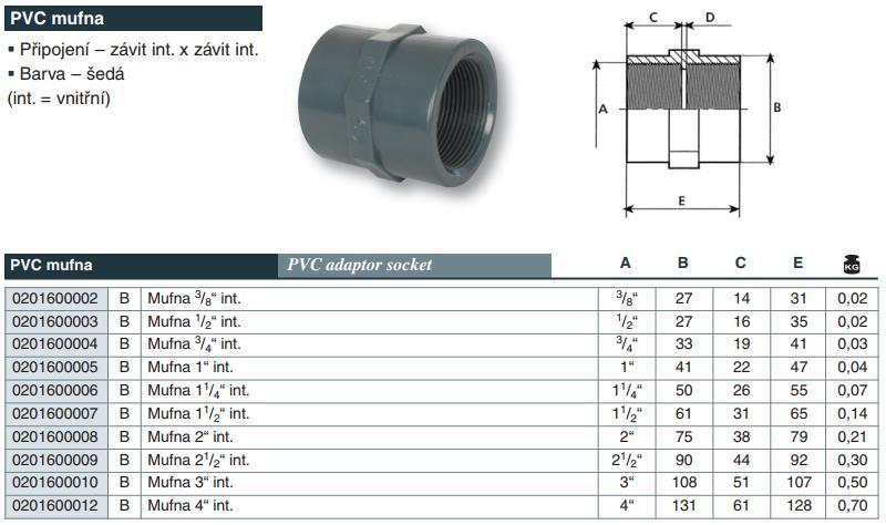 "Vágnerpool PVC tvarovka - Mufna 3/8"" int."
