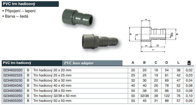 Vágnerpool PVC tvarovka - Trn hadicový 40 x 40 mm