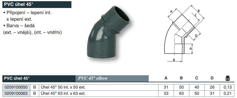Vágnerpool PVC tvarovka - Úhel 45° 50 int. x 50 ext.