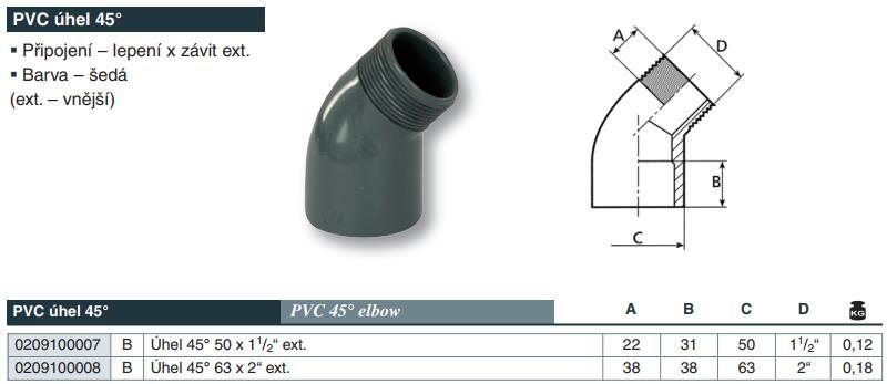 """Vágnerpool PVC tvarovka - Úhel 45° 50 x 11/2"""" ext."""