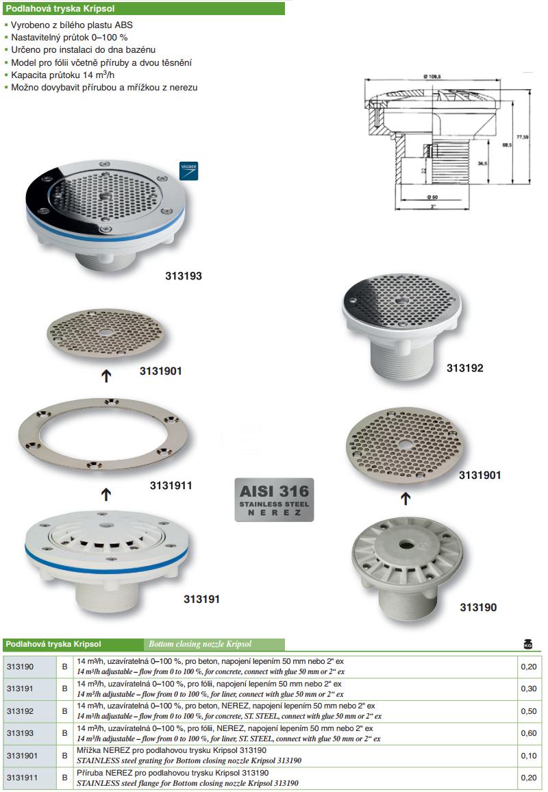 Podlahová tryska KRIPSOL - 14 m3/h, uzavíratelná 0--100 %, pro beton