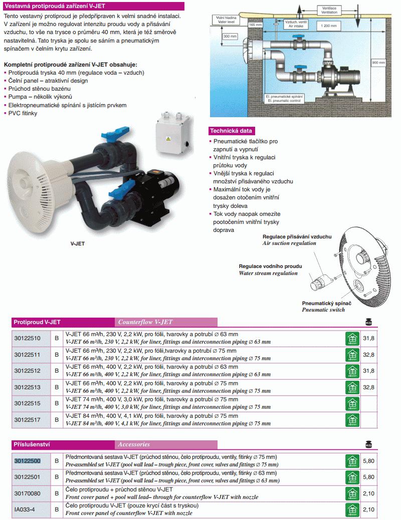 Protiproud V-JET 66 m3/h, 230 V, 2,2 kW, pro fólii, potrubí d 63 mm