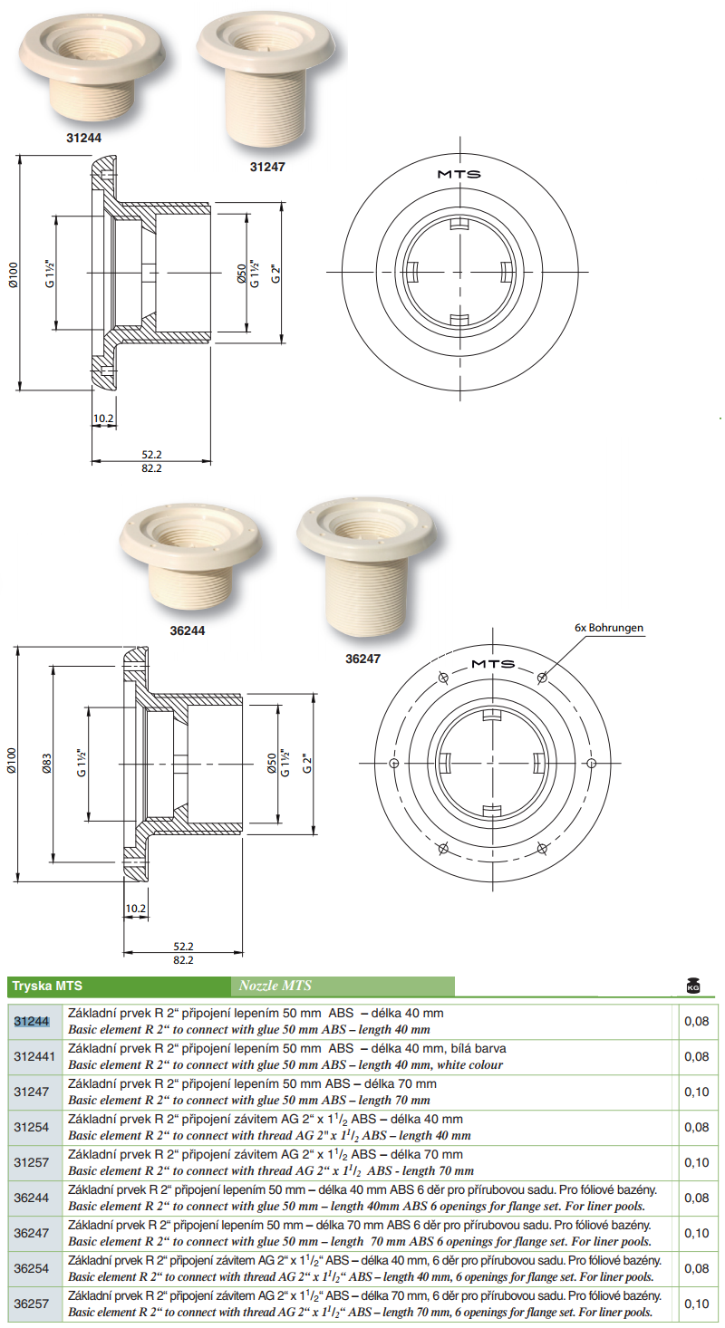 """Tryska MTS - Základní prvek R 2"""" 1,5""""x70MM připojení závitem, ABS"""