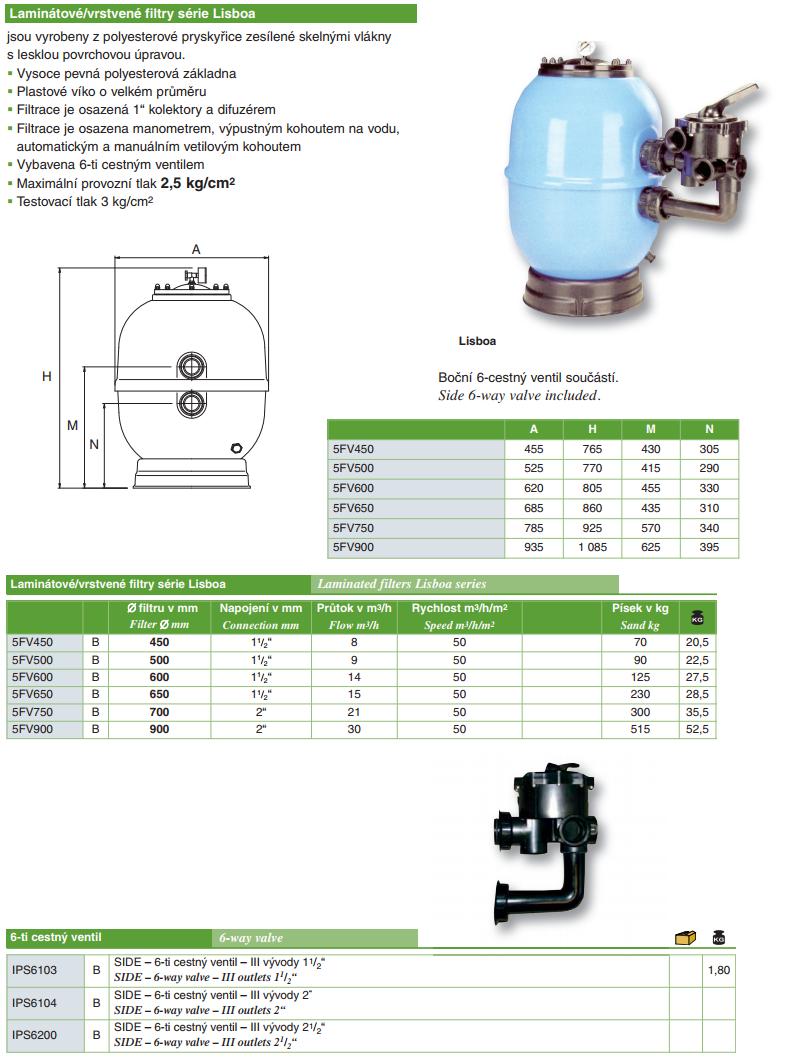 Filtrační nádoba Lisboa 650 mm, průtok 15 m3/h, boční ventil -záruka 3 roky