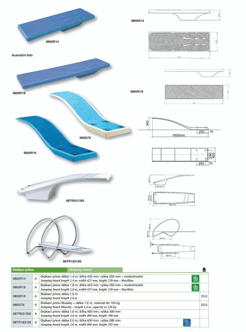 Skákací prkno - 1800x425x250mm - modré/modré