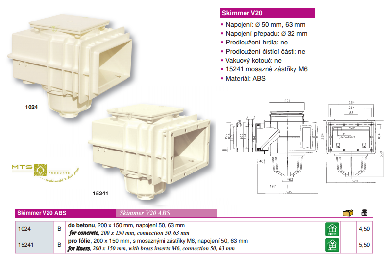 SKIMMER V20 ABS do betonu, 200 x 150 mm