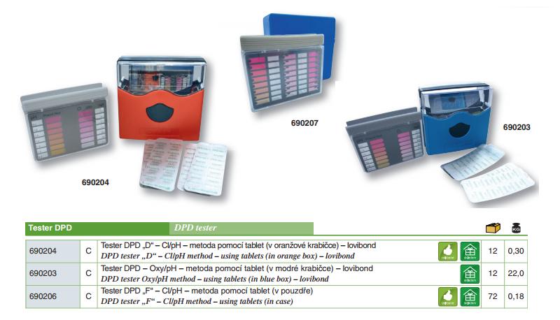 """Tester DPD """"N"""" - Cl/pH - metoda pomocí tablet, lovibond"""