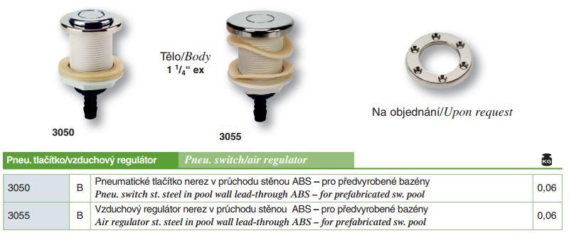 Vzduchový regulátor nerez v průchodu stěnou ABS